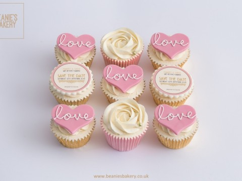 Save the Date Wedding Cupcakes by Beanie's Bakery in Solihull