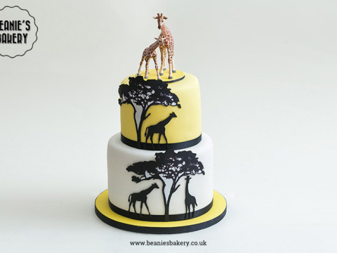 Giraffe Silhouette Cake by Beanie's Bakery in Solihull