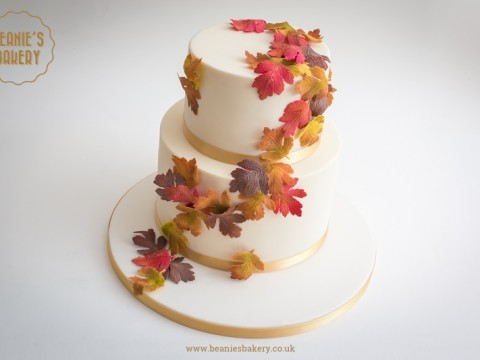 Autumn Wedding Cake by Beanie's Bakery