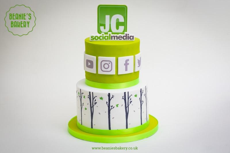 JC Social Media 5th Birthday Corporate Cakes by Beanie's Bakery