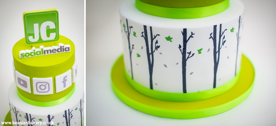 JC Social Media 5th Birthday Corporate Cake Birmingham by Beanie's Bakery
